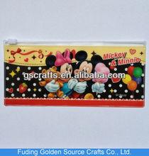 nice cartoon design plastic pvc zipper pencil bag for kids