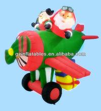 LED airblown Christmas inflatable santa animated airplane