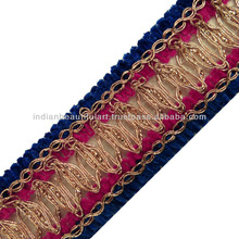 Blue Pink Metallic Braid Style Ribbon Trim Thread Cord Women Border Lace Craft India