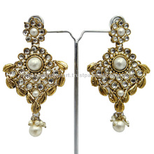 ANTIQUE GOLD TONE WHITE PEARL PARTY WEAR EARRING SET TRADITIONAL INDIAN JEWELRY