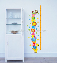 Hot Sale Cute Animal Kids Growth Height Chart Waterproof Kids Home Decoration Removable PVC Wall Sticker