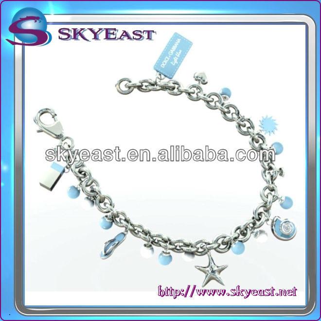 Fashion metal bracelet with special charms & custom logo