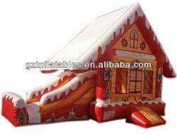 Christmas house inflatable bouncer slide for festival