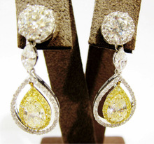 FANCY LIGHT YELLOW 4.06 CT TOTAL WEIGHT 2 PEAR SHAPE 2.03 CT EACH SET EARRING WHITE ROUND MARQUISE