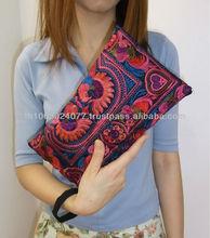 Red Bird Wristlet Bag HMONG Embroidered Bag Fair Trade Handmade Thailand