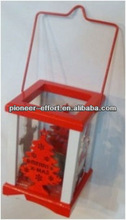 Christmas decorations wooden lantern as home decoration red and white color