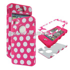 3 in1 Pink Dots Hybrid Hard Case High Impact Shock Defender Cover for Apple Iphone 4 4S