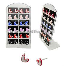 Fashion Design Promotional Gifts Cheap Ear Studs w Zircon,Plastic Heart Shaped Ear Stud Earrings
