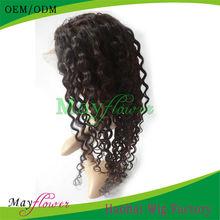 Human hair full lace wig loose curl natural color virgin Brazilian hair kosher wig