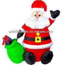 inflatable Christmas Santa gift bag cartoon for holiday promotion