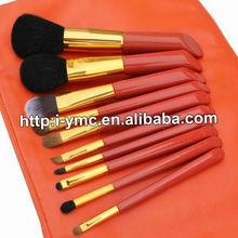red 10 pieces makeup powder/contouring/foundation/eye shadow/lip brush set
