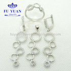 Fuyuan five park together shape sterling silver 925 jewelry set,plated rhodium,micro pave setting,CZ,SET2683