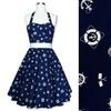 Rockabilly 50s Sailor Nautica Corset Petticoat Gothic Retro Punk Emo Pin Up Vintage Party Swing Dress