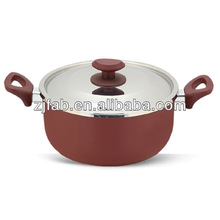 Safe and Durable Maroon Painting Outside Aluminum Non-stick Saucepot with Glass Lid