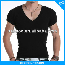 OEM service Mens V-neck T-shirt Plain Black Slim Fit Style