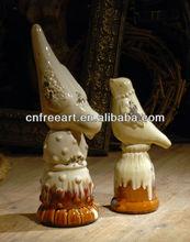 Cosecha de naranja& mezcla de blanco esmalte de la figura de aves para decoración de hogar