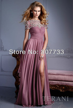 CW382 Graceful 2013 Plum beaded a line slit long chiffon evening dress with sleeves