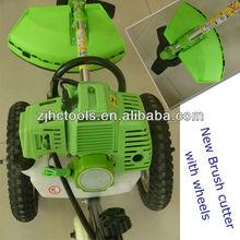 nuevo 2013 empujar la mano cortador de hierba 43cc cortador de cepillo con ruedas