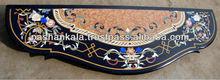 Black Marble Inlay Console Table Top Pietra Dura