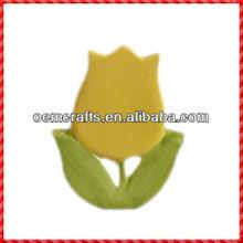 2014 hotsale ceramic yellow flower design 3d Fridge Magnet wholesale