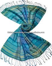 antigüedades chales de seda jacquard con diseños