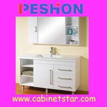 White Big Size Tall PVC Vertical Wash Basin Bathroom Cabinet