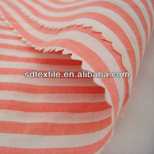 100% cotton yarn dyed poplin red white striped fabric