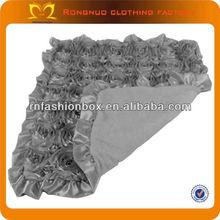 Christma design 3D flower cotton fleece blanket with satin trim blanket soft cashmere blanket for babies15 colors wholesale