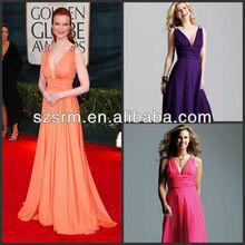 Gorgeous Celebrity Inspired Sexy Deep V-neck Floor Length Spaghetti Straps Chiffon Red Carpet Prom Dress DP289