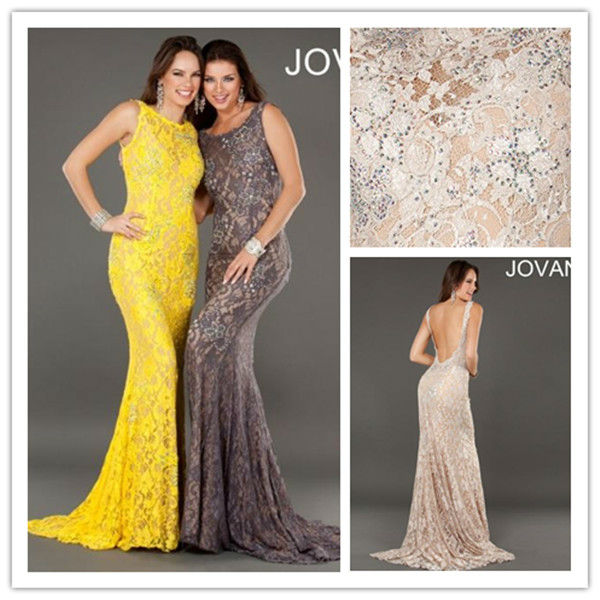 E0329 Sexy Mermaid Beaded Lace Long Engagement Prom Yellow Brown Evening Dress 2013