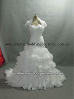 2014 hot sweetheart beaded custom-made real samples ball gown ruffled wedding dress with boleros CWFaw5552