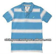 American Crew Eagle Logo Men's Polo Collar T-Shirt Blue White Stripe