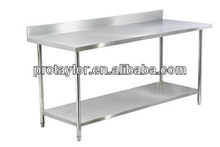 CE approved 2-tier stainless steel work table with Backsplash WTC-082B