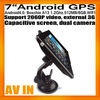 7inch Android GPS Navigation Android4.0 car dvr Capacitive Screen Dual Cameras AV IN WIFI FMT BoxchipA13 512MB/8GB 2060P Video