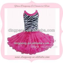 zebra prints top + chiffon ruffle skirts peach pink pettiskirts with tank top