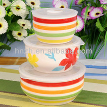 3ps large stackable ceramic chinese soup bowls with lids
