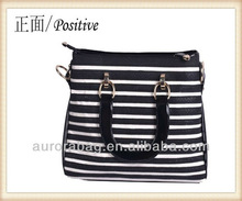 Genuine Leather Zebra Print Shopper Handbag