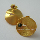Turkish Jewelry Earring Gold Plated 925 sterling silver with Turmaline