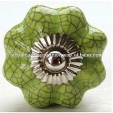 Decorative Ceramic Pumpkin Green Crackle Knobs