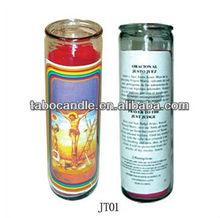 religiosas vela en tarros de cristal con la imagen de jesús