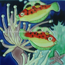 Decorative fish picture of China Ceramic Wall Tiles for wall hanging