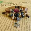 Top AAA quality fashion genuine thin leather handmade bracelets!! Antique design charm star bead decoration handmade bracelets!!