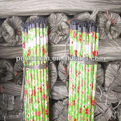 Green flower pvc coating broom handle wooden stick