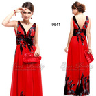 HE09641RD Sexy Double V Neck Chiffon Floral Printed Evening Dress