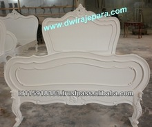 Bedroom Sets Furniture Indonesia - Provencal Louis XV White Luxury French Bed
