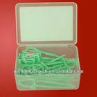 Plastic Nylon green dental floss picks/toothpicks with waxed & mints