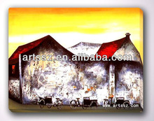 Low Price Excellent Colorful village landscape abstract impressionalist artistic masterpiece replica oil painting on canvas