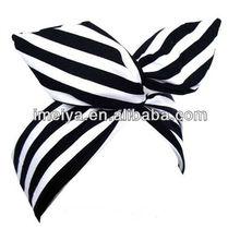 Black & White Candy Stripe wire ROCKABILLY Headband Pin up Hair Wrap European Hair Band