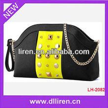 punk black white color matching revet decorated women handbag shoulder pu bags OEM company
