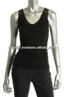 Black Lace Trim U Neck Rib Tank Top Shirt